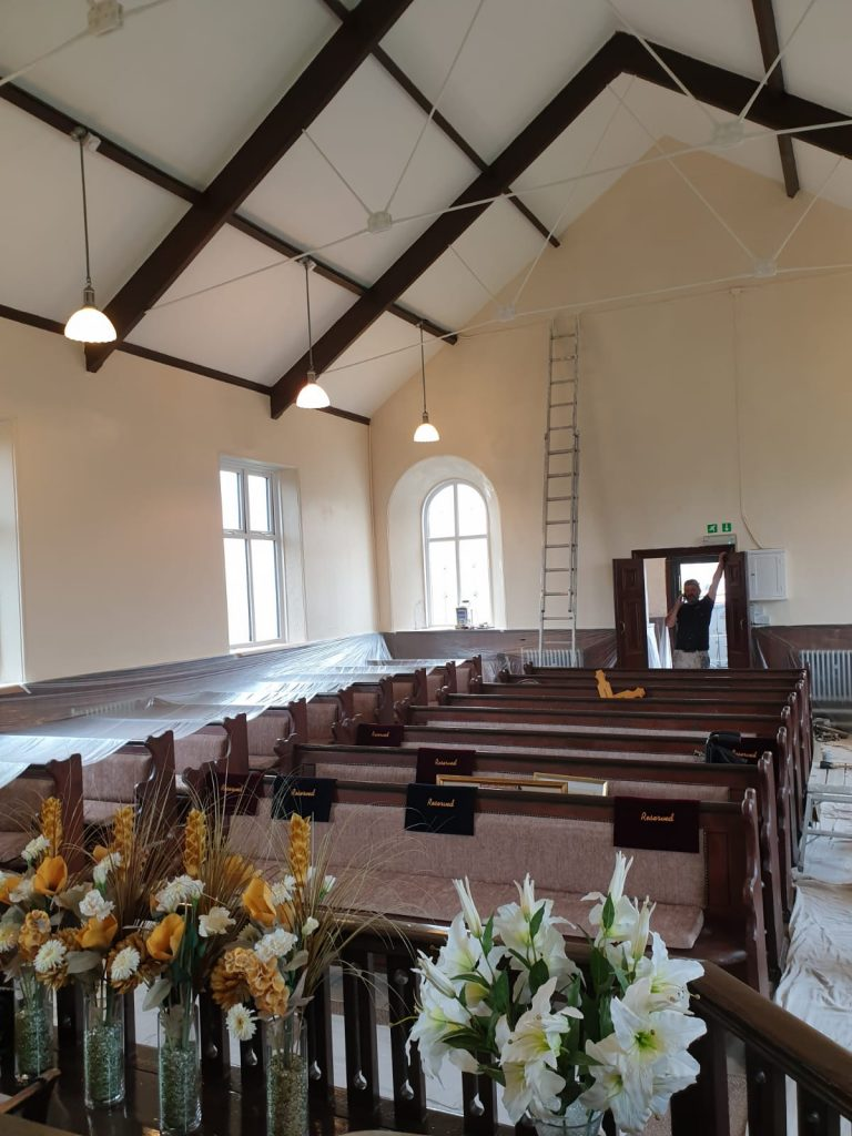 Calfaria Chapel Ystradgynlais decorated by painters and decorators Swansea