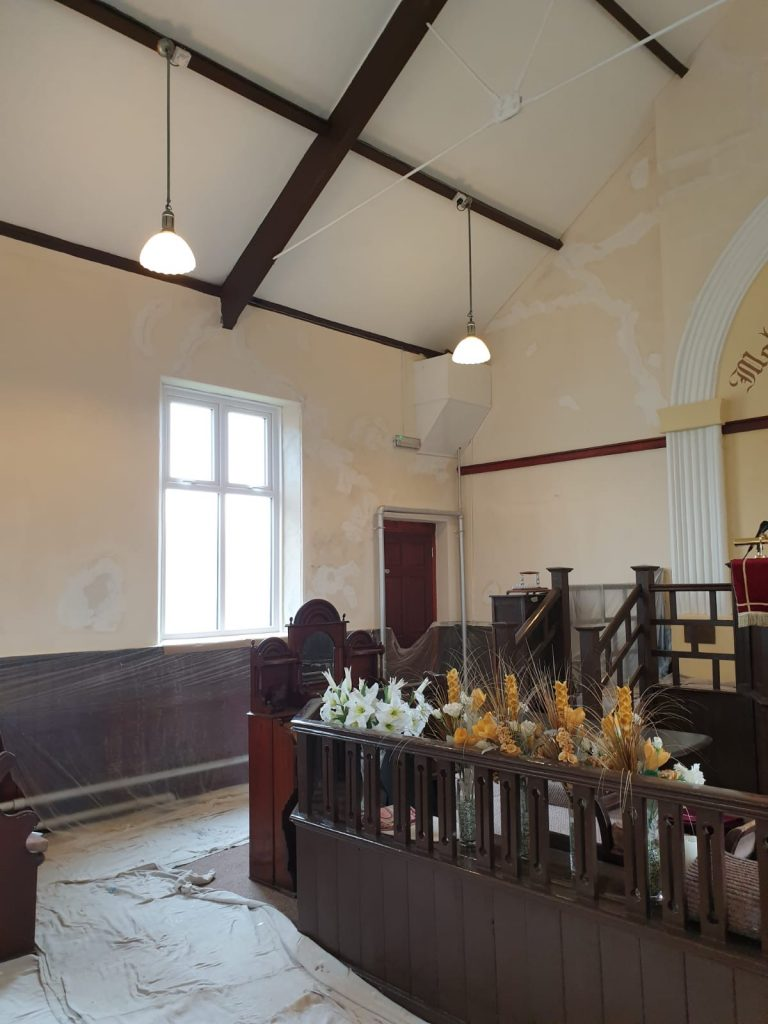 East side of Calfaria Chapel Ystradgynlais decorated by Swansea Decorating Services