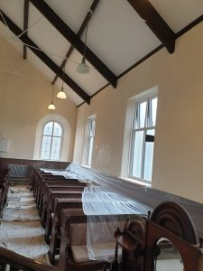 White painted walls at Calfaria Chapel Ystradgynlais by Decorator and Painter Swansea