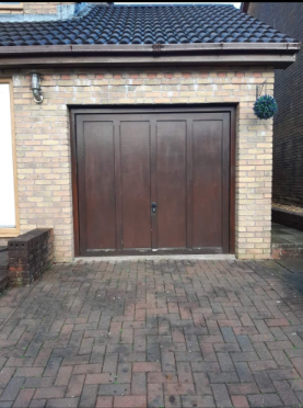 Before Shot Wooden Garage Door- Premier Painters and Decorators Swansea