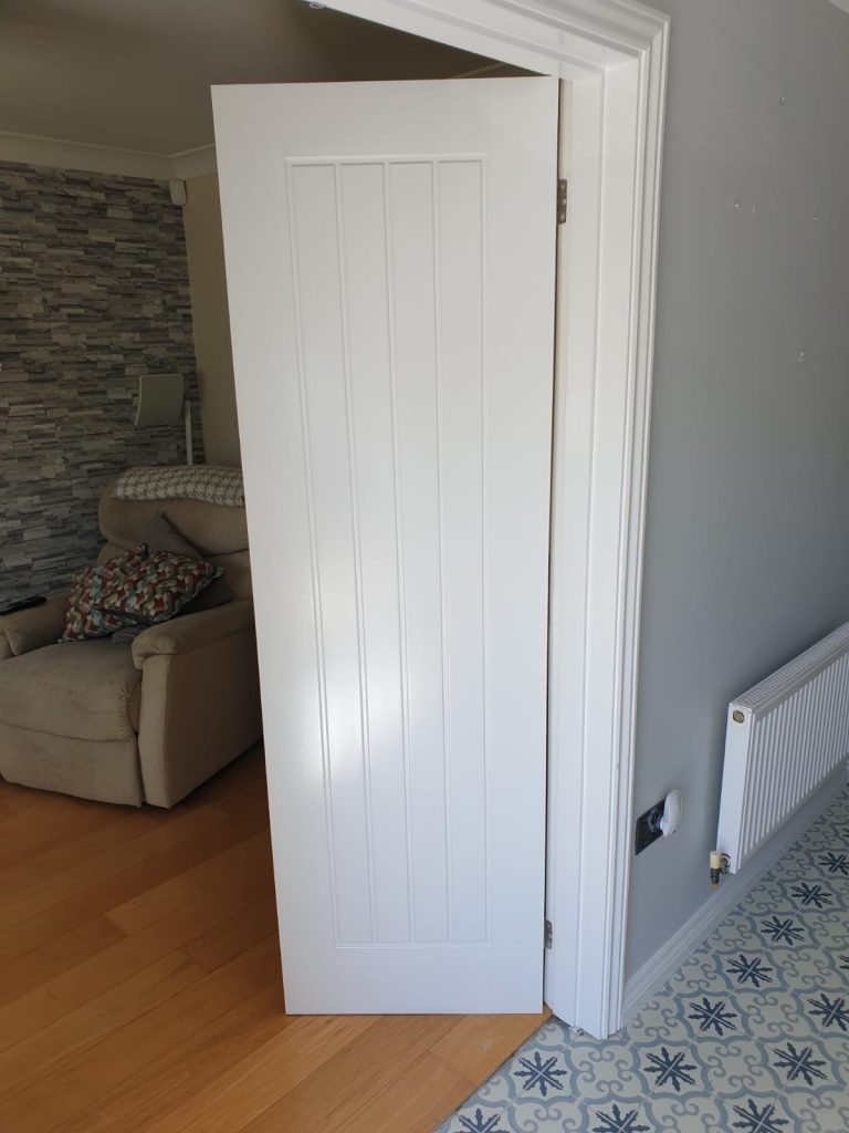 Interior door leading into lounge painted by Swansea Painters in Llansamlet Swansea