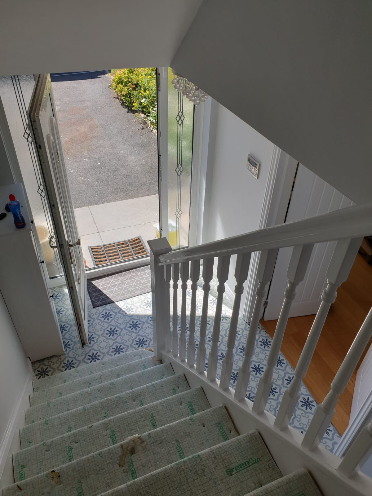 View from top of painters and decorators Swansea completing staircase in Llansamlet Swansea